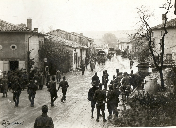 Meuse Argonne soldiers on wet road