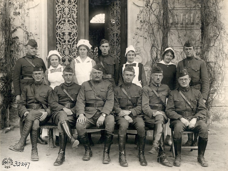 US nurses and soldiers portrait