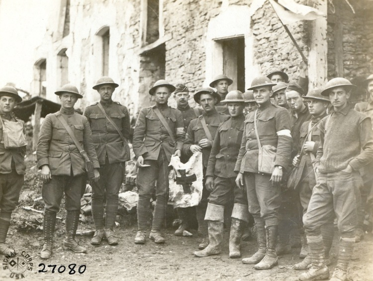 US troops portrait captured town