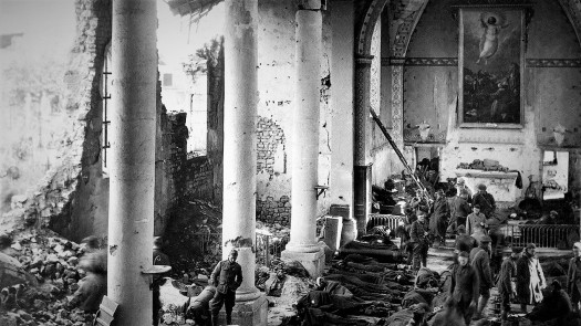 A shattered church in the ruins of Neuvilly becomes a temporary shelter for American wounded September 1918 NARA (2)
