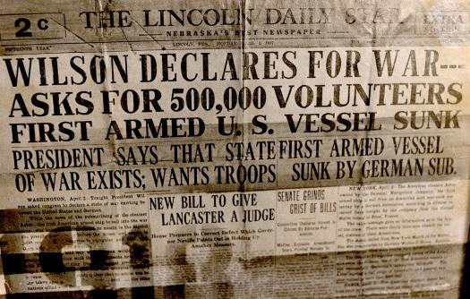 Lincoln WWI headline war declared