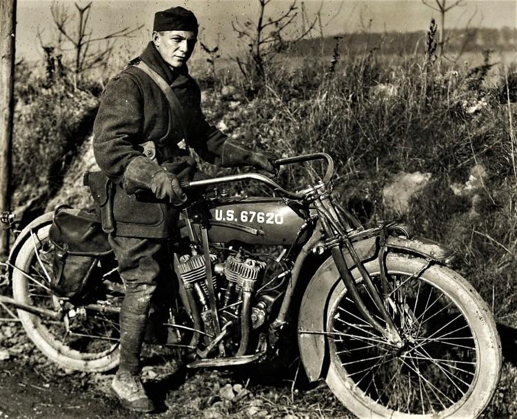 WWI Motorcycle Man Harley Davidson