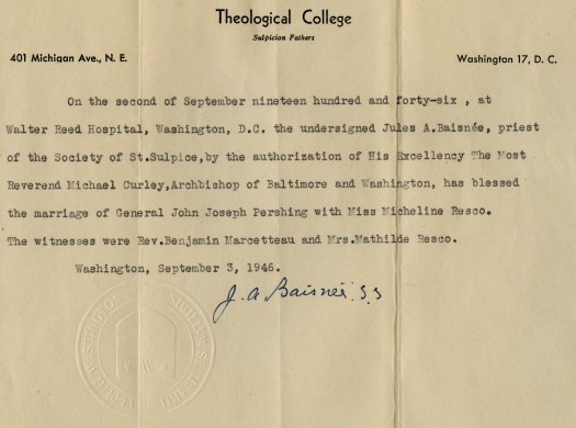 Pershing Resco Marraige Certificate, John J, Folder M 7, 1-2, B