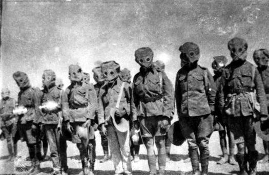 Chemical StateLibQld_2_202023_Soldiers_drill_in_their_gas_masks_during_World_War_I