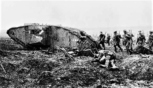 Front Western front Canadian_tank_and_soldiers_Vimy_1917