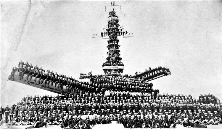 Navy United States Marines and Sailors posing on unidentified ship likely either the USS Pennsylvania or USS Arizona in 1918