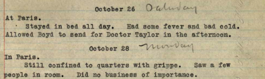 Pershing Diary Mentions His Flu